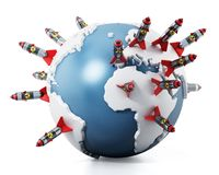 Nuclear missiles standing on world map. 3D illustration.  Royalty Free Stock Photo