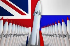 Nuclear missiles of United Kingdom and Russia in a row and their Stock Photography