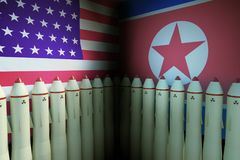 Nuclear missiles of USA and North Korea. 3D rendered illustration Stock Image