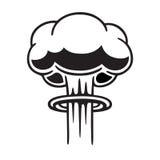 Nuclear mushroom cloud. Cartoon comic style nuclear mushroom cloud illustration. Black and white vector clip art graphic Royalty Free Stock Photos