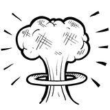 Nuclear mushroom cloud sketch Royalty Free Stock Photos