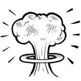 Nuclear mushroom cloud sketch Royalty Free Stock Photos