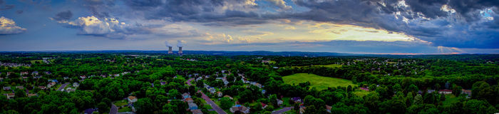 Nuclear Panorama - Limerick Pennsylvania. This is a panorama captured from the Sanatoga, PA area looking out toward Limerick Pennsylvania. The nuclear power Royalty Free Stock Images