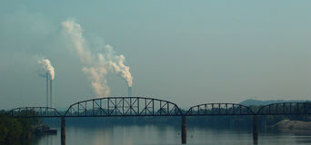 Nuclear Plant and bridge over the river Royalty Free Stock Photos