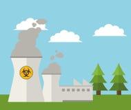 Nuclear plant energy power landscape. Vector illustration eps 10 Stock Illustration