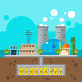 Nuclear plant and nuclear waste underground Flat design Royalty Free Stock Image