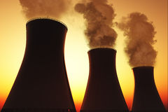 Nuclear plant smoking stacks 3D render Royalty Free Stock Photo