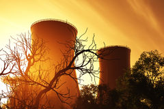 Nuclear plant and trees Stock Photos