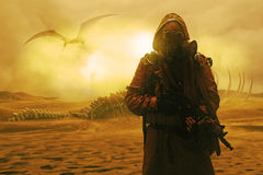 Nuclear post apocalypse. Desert and dead wasteland. Nuclear post apocalypse. Life after doomsday concept. Grimy survivor with homemade weapons and gas mask Stock Photo