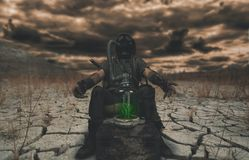 Nuclear post apocalypse survivors concept. And apocalyptic world Royalty Free Stock Photos