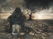 Nuclear post apocalypse survivors concept. And apocalyptic world Stock Images