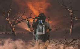 Nuclear post apocalypse survivors concept. And apocalyptic world Stock Photo