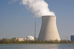 Nuclear power. Isar 2 nuclear plant in Ohu located on the Isar Royalty Free Stock Photo