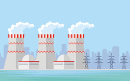 The nuclear power. Abstract image of a nuclear power plant. Vector background Stock Photos