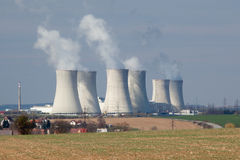 Nuclear power Dukovany. Nuclear power plant located in Czech Republic.  Power plant stacks dot the roadside landscape Royalty Free Stock Photos