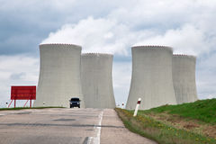 Nuclear Power Plant. Four cooling towers of the Temelin nuclear power plant in the Czech Republic Royalty Free Stock Image