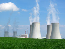 Nuclear power plant. View on nuclear power plant in sunny weather. Dukovany, Czech Republic, EU Royalty Free Stock Photography