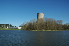 Nuclear Power Plant. A nuclear power plant stands tall along the banks of a river in Portland, Oregon Royalty Free Stock Photos