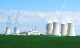 Nuclear power plant. Panoramic view on nuclear power plant Dukovany, Czech Republic, European Union Stock Photos