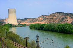 Nuclear power plant. Asco Nuclear Power Plant over the Ebro river (Tarragona, Spain Royalty Free Stock Photography