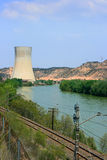 Nuclear power plant. Asco Nuclear Power Plant over the Ebro river (Tarragona, Spain Royalty Free Stock Images