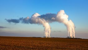 Nuclear power plant. Evening view of nuclear power plant stock images