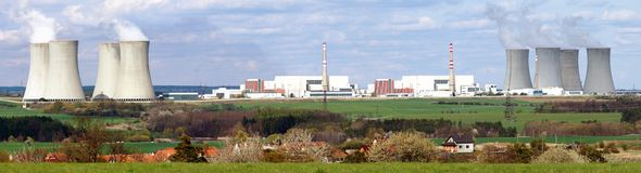 Nuclear power plant. Panoramatic view of nuclear power plant royalty free stock images