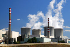 Nuclear power plant. Complete nuclear power plant. explosion hazard factory royalty free stock photos