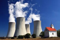 Nuclear Power plant. Smoking chimneys of a nuclear power plant Royalty Free Stock Photos