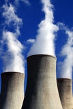 Nuclear power plant. Smokestack, crystal blue sky stock photo