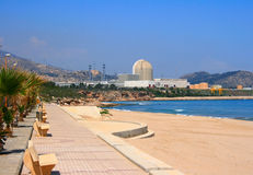 Nuclear power plant. By the sea in Vandellos (Tarragona, Spain Stock Images