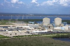 Nuclear power plant. Aerial view of nuclear power plant on Hutchinson Island, Flordia Royalty Free Stock Photography
