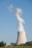 Nuclear Power Plant. A view of a huge chimney at a nuclear power station in Ohu, Bavaria, Germany Royalty Free Stock Photos