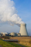 Nuclear power plant. Nuclear powerplant with electricity wires Stock Photography