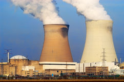 Nuclear power plant. Nuclear powerplant with electricity wires Stock Photo