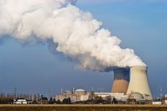 Nuclear power plant. View at a nuclear powerplant Stock Images