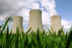 Nuclear power plant. In Temelin, cooling towers (Czech Republic royalty free stock photo