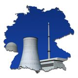 Nuclear power plant in an abstract map of Germany Royalty Free Stock Photography
