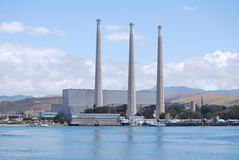 Nuclear power plant. Across from a beach Moro Bay Stock Photo