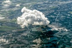 Nuclear power plant aerial view Stock Photos