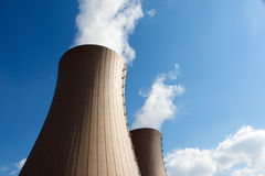 Nuclear power plant against  clouds and sky Royalty Free Stock Images