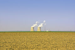 Nuclear Power Plant And Agricultural Landscape Stock Photography