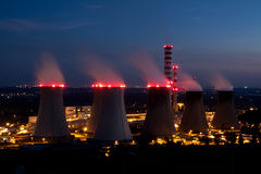 Nuclear Power Plant At Night Stock Photo