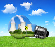 Nuclear power plant in bulb. Royalty Free Stock Image
