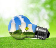 Nuclear power plant in bulb. Royalty Free Stock Photo