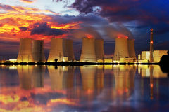 Nuclear Power Plant By Night Royalty Free Stock Images