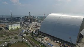 Nuclear power plant Chernobyl. Nuclear power plant with the height of the bird`s flight stock video