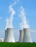 Nuclear power plant chimneys. View on nuclear power plant in sunny weather. Dukovany, Czech Republic, EU stock photo