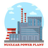 Nuclear power plant with cooling tower and chimney Stock Photos
