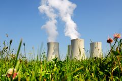 Nuclear power plant - cooling towers. Nuclear power plant in Temelin (Czech Republic royalty free stock photos